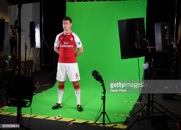 Laurent Koscielny of Arsenal during his media duties before Arsenal Training Session at Emirates Stadium on August 3 2017 in London England