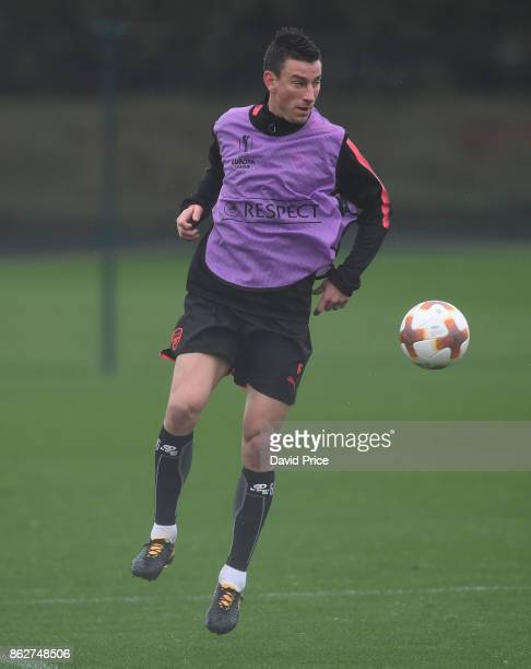 Laurent Koscielny of Arsenal during the Arsenal Training Session at London Colney on October 18 2017 in St Albans England