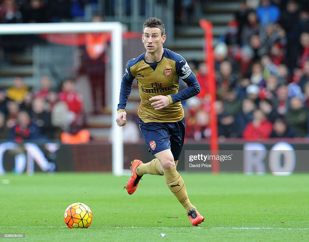 <a gi-track='captionPersonalityLinkClicked' href=/galleries/search?phrase=Laurent+Koscielny&family=editorial&specificpeople=2637418 ng-click='$event.stopPropagation()'>Laurent Koscielny</a> of Arsenal during the Barclays Premier League match between AFC Bournemouth and Arsenal at The Vitality Stadium, Bournemouth 7th February 2016.