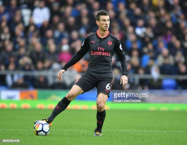 Laurent Koscielny of Arsenal during the Premier League match between Everton and Arsenal at Goodison Park on October 22 2017 in Liverpool England