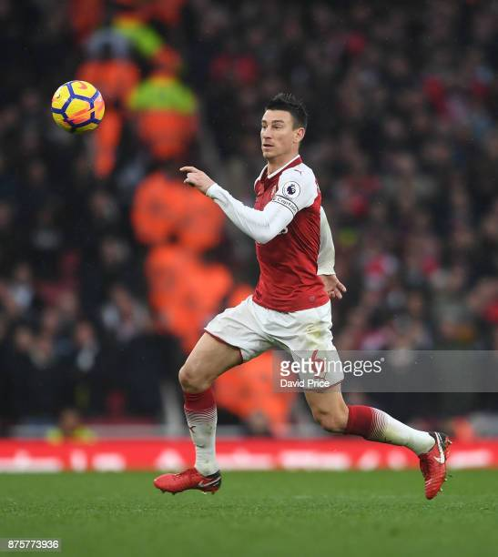 Laurent Koscielny of Arsenal during the Premier League match between Arsenal and Tottenham Hotspur at Emirates Stadium on November 18 2017 in London...