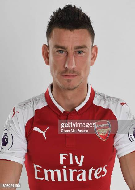 Laurent Koscielny of Arsenal poses in a first team photocall at Emirates Stadium on August 3 2017 in London England