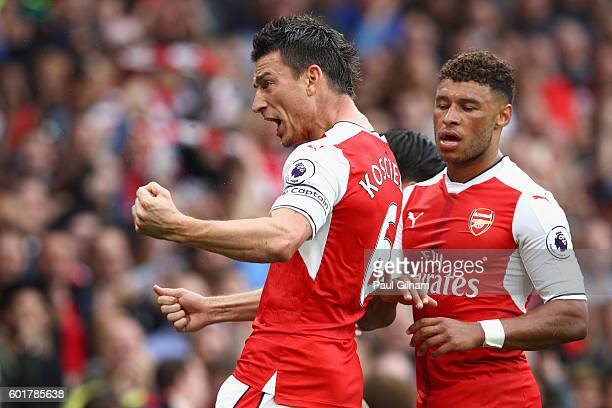 Laurent Koscielny of Arsenal scores his sides first goal during the Premier League match between Arsenal and Southampton at Emirates Stadium on...