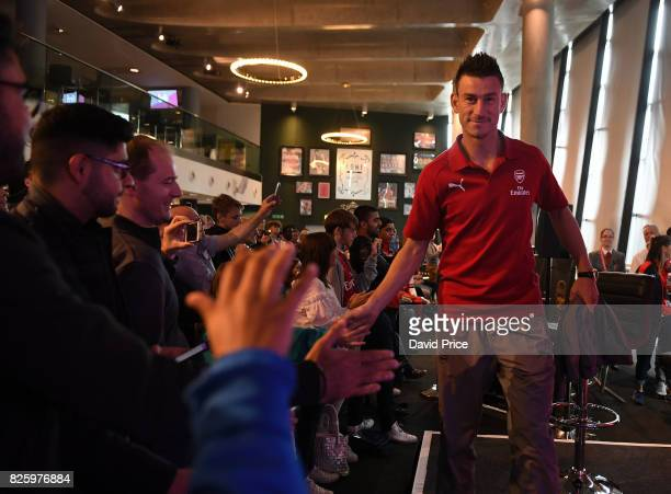 Laurent Koscielny of Arsenal takes part in a QA during Memebers Day at Emirates Stadium on August 3 2017 in London England