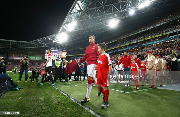Laurent Koscielny of Arsenal walks out during the match between the Western Sydney Wanderers and Arsenal FC at ANZ Stadium on July 15 2017 in Sydney...