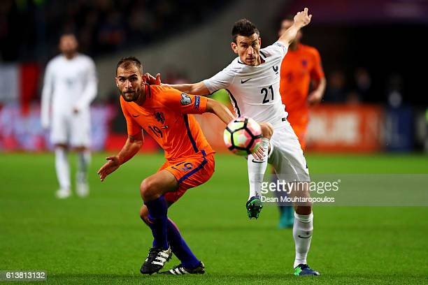 Laurent Koscielny of France and Bas Dost of the Netherlands challenge for the ball during the FIFA 2018 World Cup Qualifier between Netherlands and...