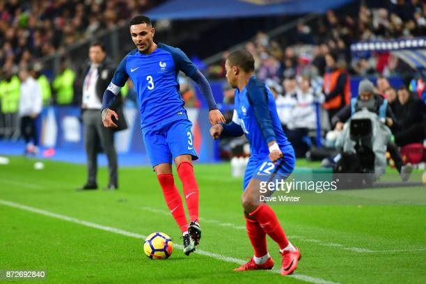 Laurent Koscielny of France and Kylian Mbappe of France during the international friendly match between France and Wales at Stade de France on...