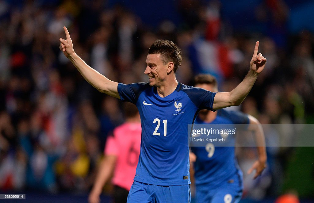 Laurent Koscielny of France celebrates his team's third goal during the International Friendly between France and Scotland on June 4 2016 in Metz...