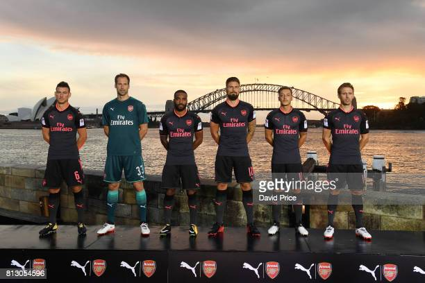 Laurent Koscielny Petr Cech Alexandre Lacazette Olivier Giroud Mesut Ozil and Nacho Monreal of Arsenal launch the new Puma Arsenal 3rd kit on Fort...