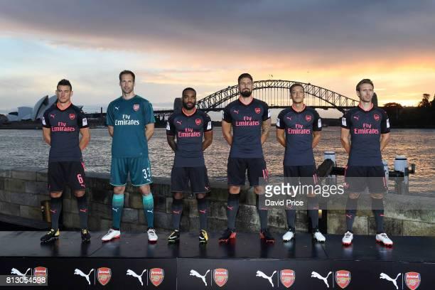 Laurent Koscielny Petr Cech Alexandre Lacazette Olivier Giroud Mesut Ozil and Nacho Monreal of Arsenal launch the new Puma Arsenal 3rd kit on Fort...