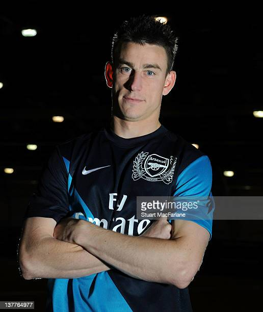 Laurent Koscielny takes part in an Arsenal Magazine photoshoot at the Arsenal Training Ground London Colney on November 28 2011 in St Albans England