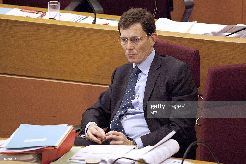 Laurent Lafon, president of the group Alliance Republicaine Ecologique et sociale attends a plenary session at the Regional Council of Ile-de-France on December 20, 2012 in Paris.