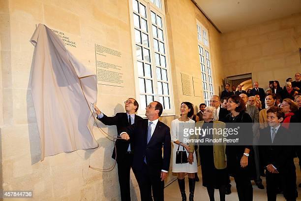 Laurent Le Bon Ministre of Culture Fleur Pellerin French President Francois Hollande Maya Widmaier Picasso Anne Hidalgo and Edouard Widmaier Picasso...