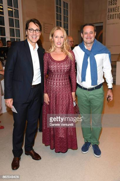 Laurent Merlet and Thierry Marembert attend a cocktail in honour of Diana Widmaier Picasso and Alexander SC Rower awarded with the Chevalier and...