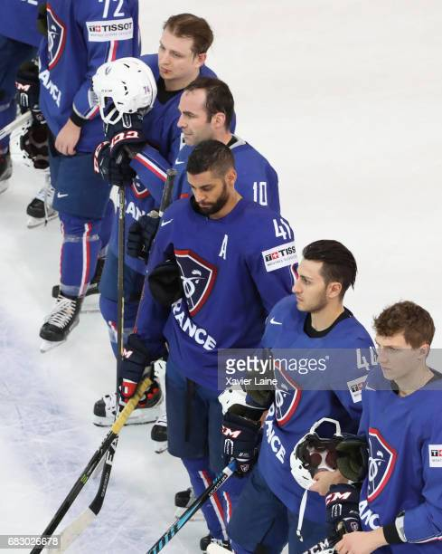 Laurent Meunier and PierreEdouard Bellemare of France are disapointed after the 2017 IIHF Ice Hockey World Championship game between France and Czech...