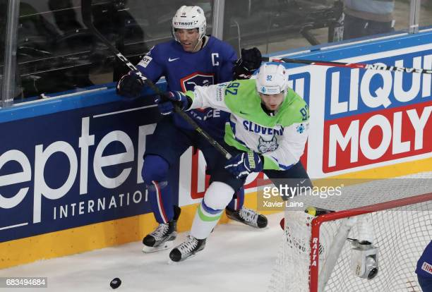 Laurent Meunier of France during the 2017 IIHF Ice Hockey World Championship game between France and Slovenia at AccorHotels Arena on May 15 2017 in...