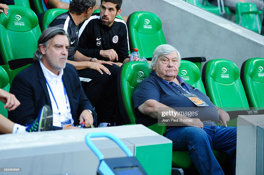 Laurent NICOLLIN and Louis NICOLLIN president of Montpellier during the Ligue 1 match between As Saint Etienne and Montpellier Herault at Stade...