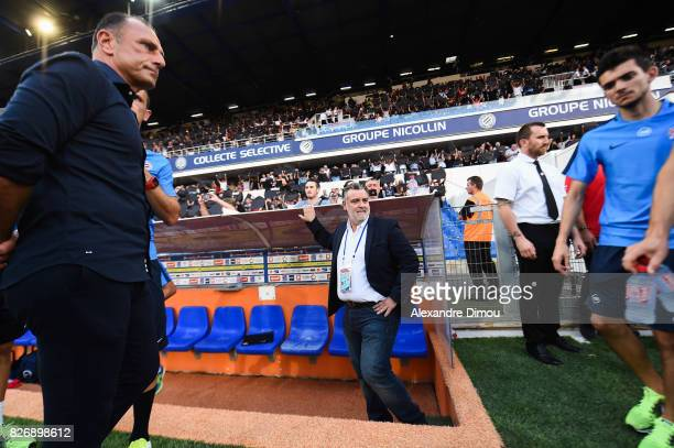 Laurent Nicollin President and Michel Der Zakarian Coach of Montpellier during the Ligue 1 match between Montpellier Herault SC and SM Caen at Stade...
