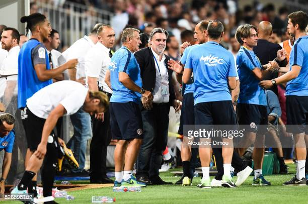 Laurent Nicollin President and Staff of Montpellier celebrate the Victory during the Ligue 1 match between Montpellier Herault SC and SM Caen at...