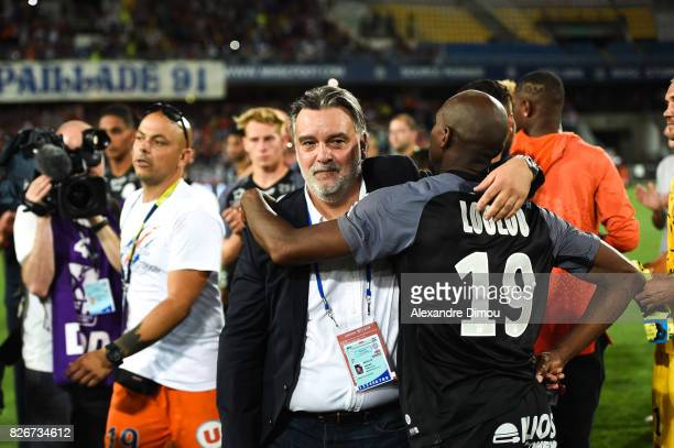 Laurent Nicollin President of Montpellier and Souleymane Camara celebrate the victory during the Ligue 1 match between Montpellier Herault SC and SM...