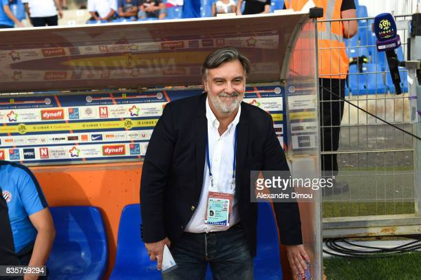 Laurent Nicollin President of Montpellier during the Ligue 1 match between Montpellier Herault SC and Strasbourg at Stade de la Mosson on August 19...