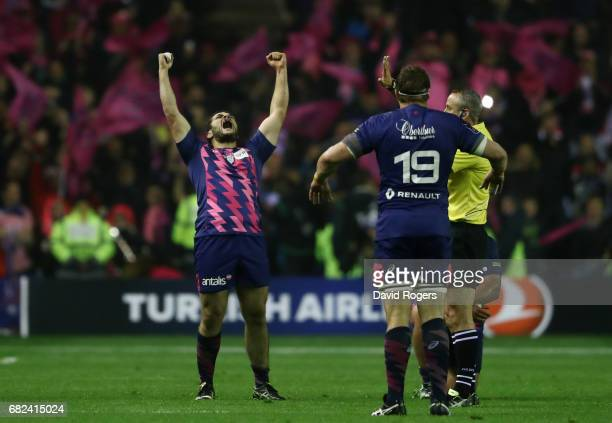 Laurent Panis of Stade Francais celebrates his team's 25017 victory as the final whistle blows during the European Rugby Challenge Cup Final between...