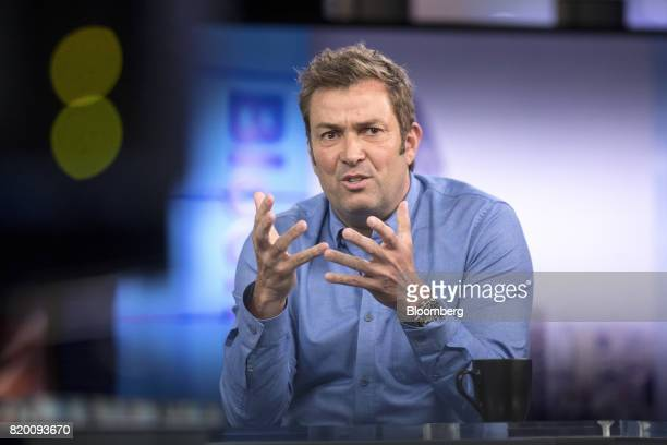 Laurent Potdevin chief executive officer of Lululemon Athletica Inc gestures as he speaks during a Bloomberg Television interview in London UK on...