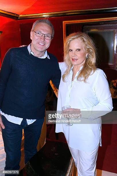Laurent Ruquier and Sylvie Vartan attend Sylvie Vartan triumphs in the Theater Play 'Ne me regardez pas comme ca ' performed at 'Theatre Des...