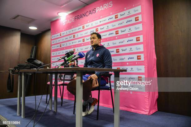Laurent Sampere of Stade Francais during a press conference of the Stade Francais at Stade Jean Bouin on March 24 2017 in Paris France