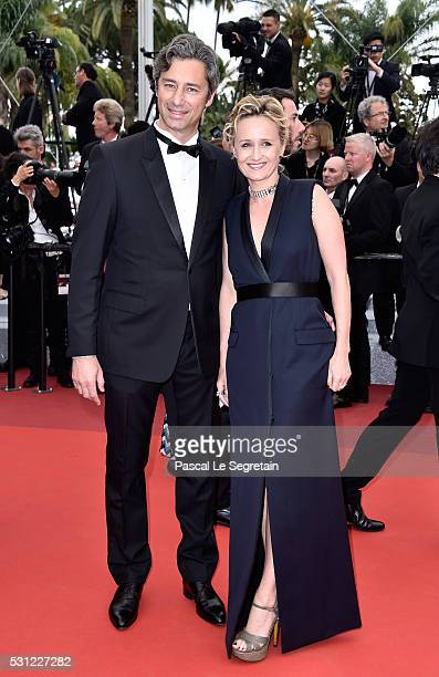 Laurent Solly and Caroline Roux attend the 'Slack Bay ' premiere during the 69th annual Cannes Film Festival at the Palais des Festivals on May 13...