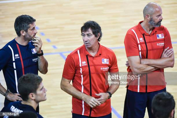 Laurent Tillie coach of France and Arnaud Josserand assistant coach during a training session of the French volleyball national team on June 28 2017...
