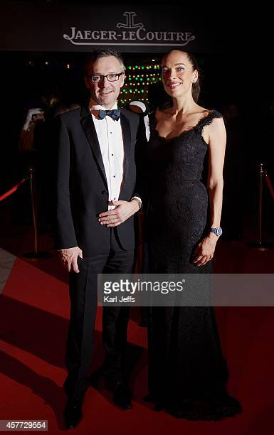 Laurent Vinay and Carmen Chaplin JaegerLeCoultre Friend of the Brand attends the JaegerLeCoultre VIP opening party during the Abu Dhabi Film Festival...