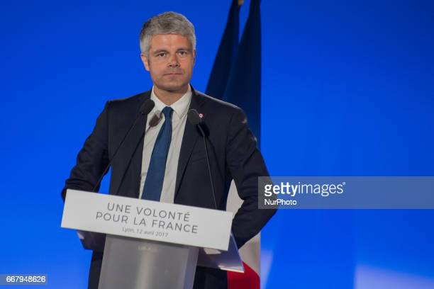 Laurent Wauqiez President of AubergneRhoneAles region delivers a speech during the meeting of Francois Fillon quotles Republicainsquot candidate for...