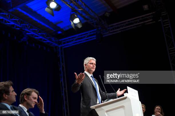 Laurent Wauquiez president of AuvergneRhonesAlpes regional council speaks during a public meeting ahead of the upcoming French legislative election...