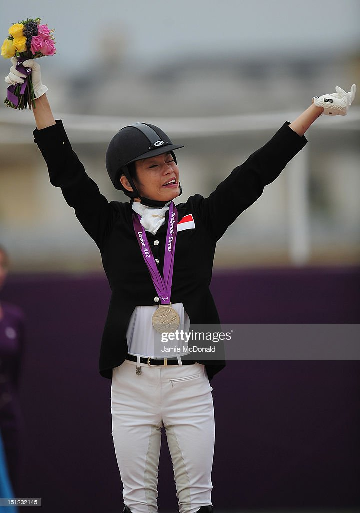 Laurentia Tan of Singapore wins Silver during the Equestrian Dressage Individual Freestyle Test - Grade 1a on day 6 of the London 2012 Paralympic Games at Greenwich Park on September 4, 2012 in London, England.