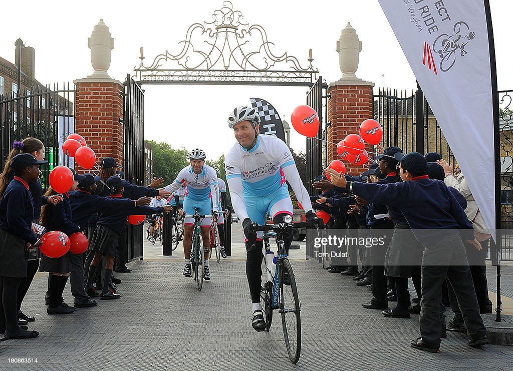 Laureus Academy Ambassador <a gi-track='captionPersonalityLinkClicked' href=/galleries/search?phrase=Michael+Vaughan&family=editorial&specificpeople=179446 ng-click='$event.stopPropagation()'>Michael Vaughan</a> crosses the finish line during the Laureus PruProtect Chance to Ride at Kia Oval on September 17, 2013 in London, England. <a gi-track='captionPersonalityLinkClicked' href=/galleries/search?phrase=Michael+Vaughan&family=editorial&specificpeople=179446 ng-click='$event.stopPropagation()'>Michael Vaughan</a> is leading a host of stars and fundraisers on the event, which will raise funds for the Laureus Sport for Good Foundation and the Cricket Foundation's Chance to Shine initiative.