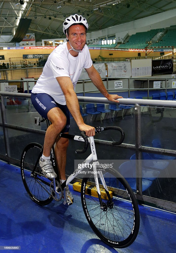 Laureus Academy Ambassador Michael Vaughan prepares to cycle during the PruProtect Chance to Ride Launch at the National Cycling Centre on June 4...
