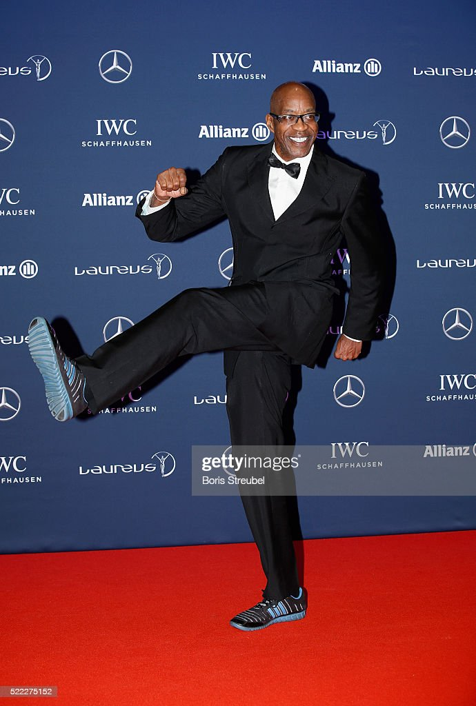 Laureus Academy Chairman Edwin Moses attends the 2016 Laureus World Sports Awards at Messe Berlin on April 18, 2016 in Berlin, Germany.