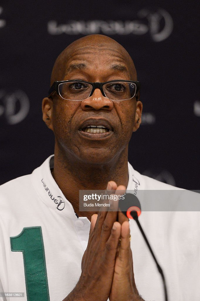 Laureus Academy Chairman <a gi-track='captionPersonalityLinkClicked' href=/galleries/search?phrase=Edwin+Moses+-+Track+and+Field+Athlete&family=editorial&specificpeople=206882 ng-click='$event.stopPropagation()'>Edwin Moses</a> attends the Laureus/AIPS Integrity In Sport Press Discusssion at the Windsor Atlantica during the 2013 Laureus World Sports Awards on March 11, 2013 in Rio de Janeiro, Brazil.