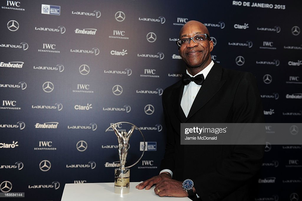 Laureus Academy Chairman Edwin Moses poses with the trophy at the 2013 Laureus World Sports Awards at the Theatro Municipal Do Rio de Janeiro on March 11, 2013 in Rio de Janeiro, Brazil.