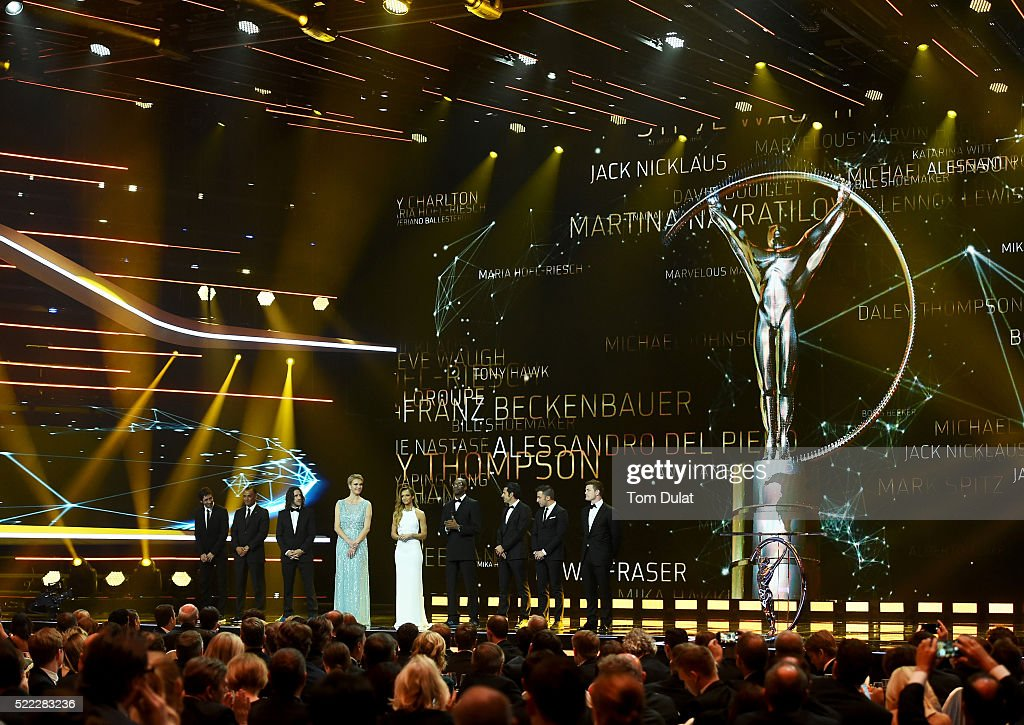 Laureus Academy Chairman Edwin Moses with new Laureus Academy Members Raul,Cafu,Carles Puyol,Maria Hoefl-Riesch , Luis Figo, Alessandro Del Piero, Brian O'Driscoll during the 2016 Laureus World Sports Awards at the Messe Berlin on April 18, 2016 in Berlin, Germany.