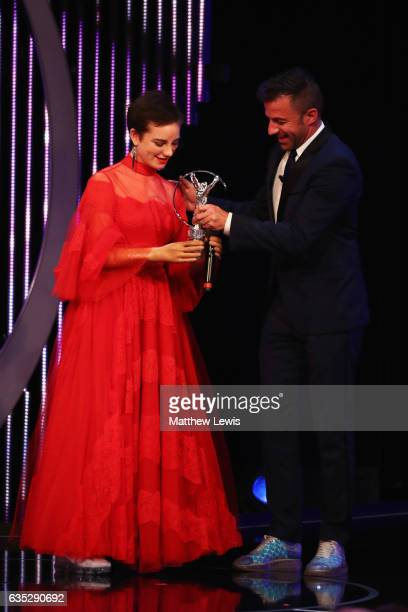 Laureus Academy member Alessandro Del Piero hands the Laureus World Sportsperson of the Year with a Disability Award to winner Fencer Beatrice Vio of...