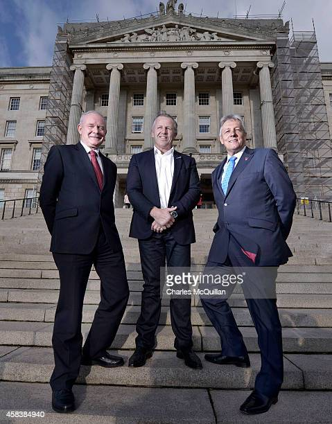 Laureus Academy member and former All Black rugby player Sean Fitzpatrick meets with Northern Ireland First Minister Peter Robinson and Deputy First...
