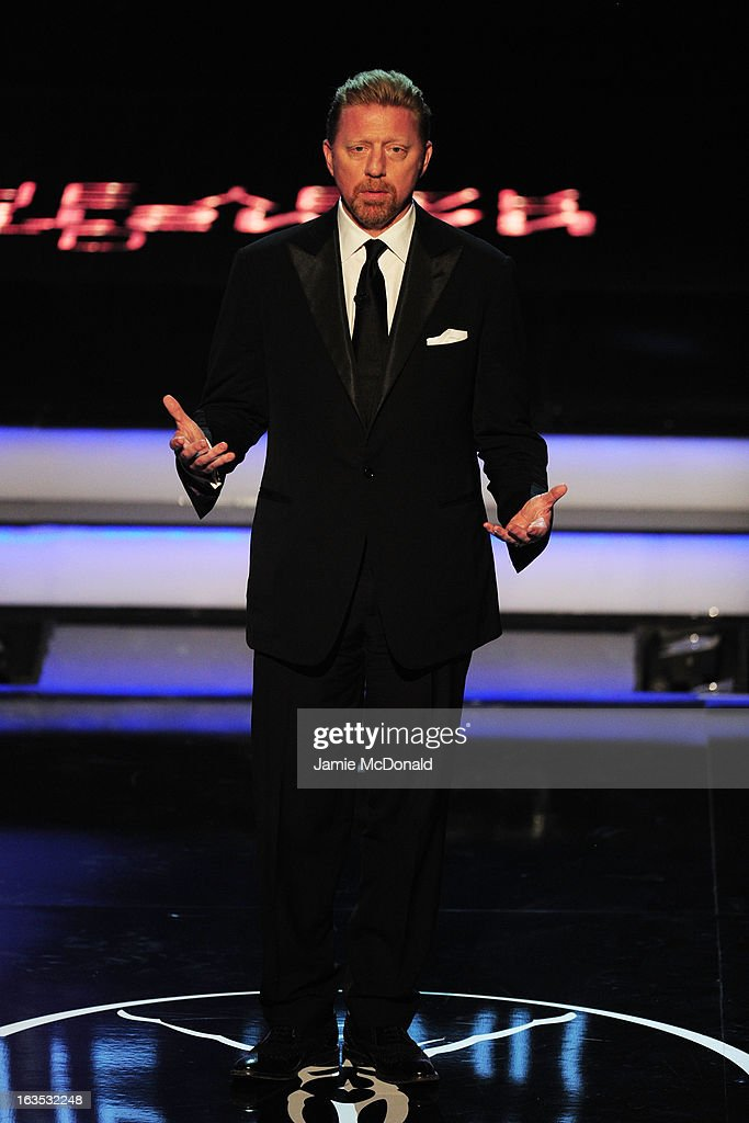 Laureus Academy Member <a gi-track='captionPersonalityLinkClicked' href=/galleries/search?phrase=Boris+Becker&family=editorial&specificpeople=67204 ng-click='$event.stopPropagation()'>Boris Becker</a> presents the award for 'Laureus World Sportsman of the Year' during the awards show for the 2013 Laureus World Sports Awards at the Theatro Municipal Do Rio de Janeiro on March 11, 2013 in Rio de Janeiro, Brazil.