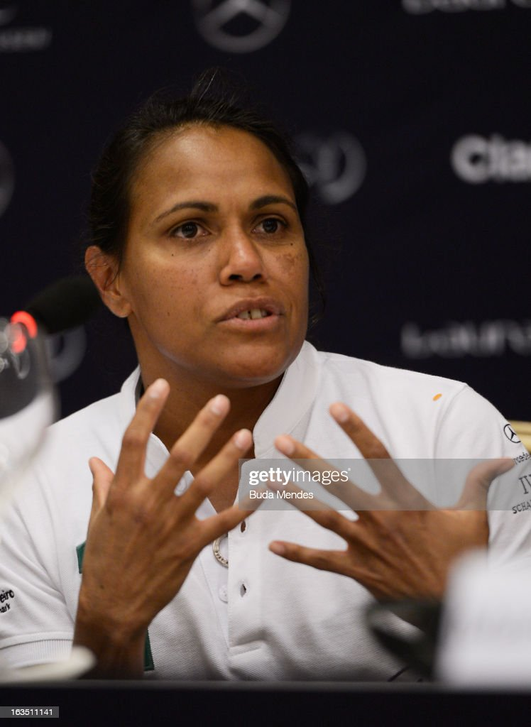 Laureus Academy Member <a gi-track='captionPersonalityLinkClicked' href=/galleries/search?phrase=Cathy+Freeman&family=editorial&specificpeople=171113 ng-click='$event.stopPropagation()'>Cathy Freeman</a> attends the Women In Sport Press Conference at the Windsor Atlantica during the 2013 Laureus World Sports Awards on March 11, 2013 in Rio de Janeiro, Brazil.