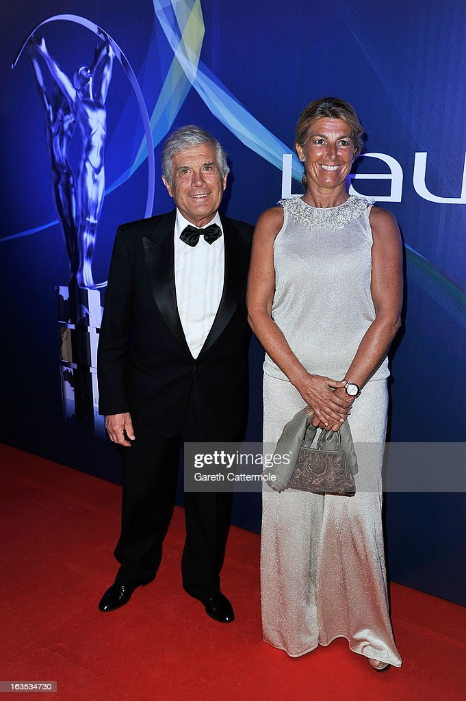 Laureus Academy Member Giacomo Agostini and guest attends the 2013 Laureus World Sports Awards at the Theatro Municipal Do Rio de Janeiro on March 11, 2013 in Rio de Janeiro, Brazil.