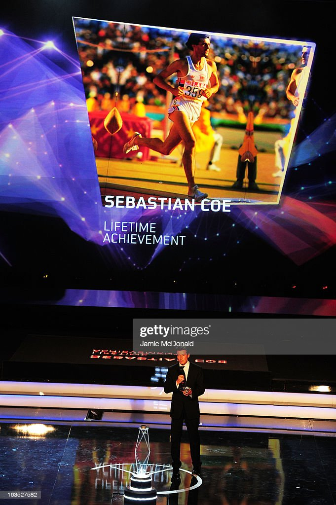 Laureus Academy Member Lord <a gi-track='captionPersonalityLinkClicked' href=/galleries/search?phrase=Sebastian+Coe&family=editorial&specificpeople=160624 ng-click='$event.stopPropagation()'>Sebastian Coe</a> accepts his ward for 'Laureus Lifetime Achievement Award' on stage during the awards show for the 2013 Laureus World Sports Awards at the Theatro Municipal Do Rio de Janeiro on March 11, 2013 in Rio de Janeiro, Brazil.