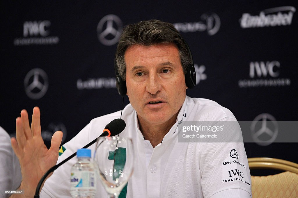 Laureus Academy Member Lord <a gi-track='captionPersonalityLinkClicked' href=/galleries/search?phrase=Sebastian+Coe&family=editorial&specificpeople=160624 ng-click='$event.stopPropagation()'>Sebastian Coe</a> attends the Sport and Development in Rio De Janerio Press Conference during the 2013 Laureus World Sports Awards on March 10, 2013 in Rio de Janeiro, Brazil.