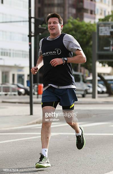Laureus Academy Member Lord Sebastian Coe in action during the Laureus Run Copacabana Beach on March 10 2013 in Rio de Janeiro Brazil