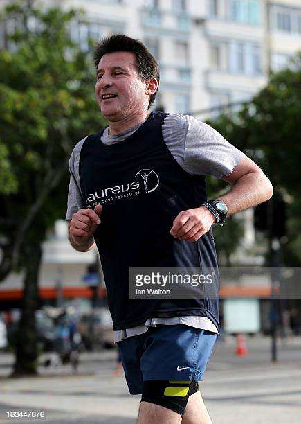 Laureus Academy Member Lord Sebastian Coe in action during the Laureus Run Copacabana Beach on March 10 2013 in Rio de Janeiro Brazil